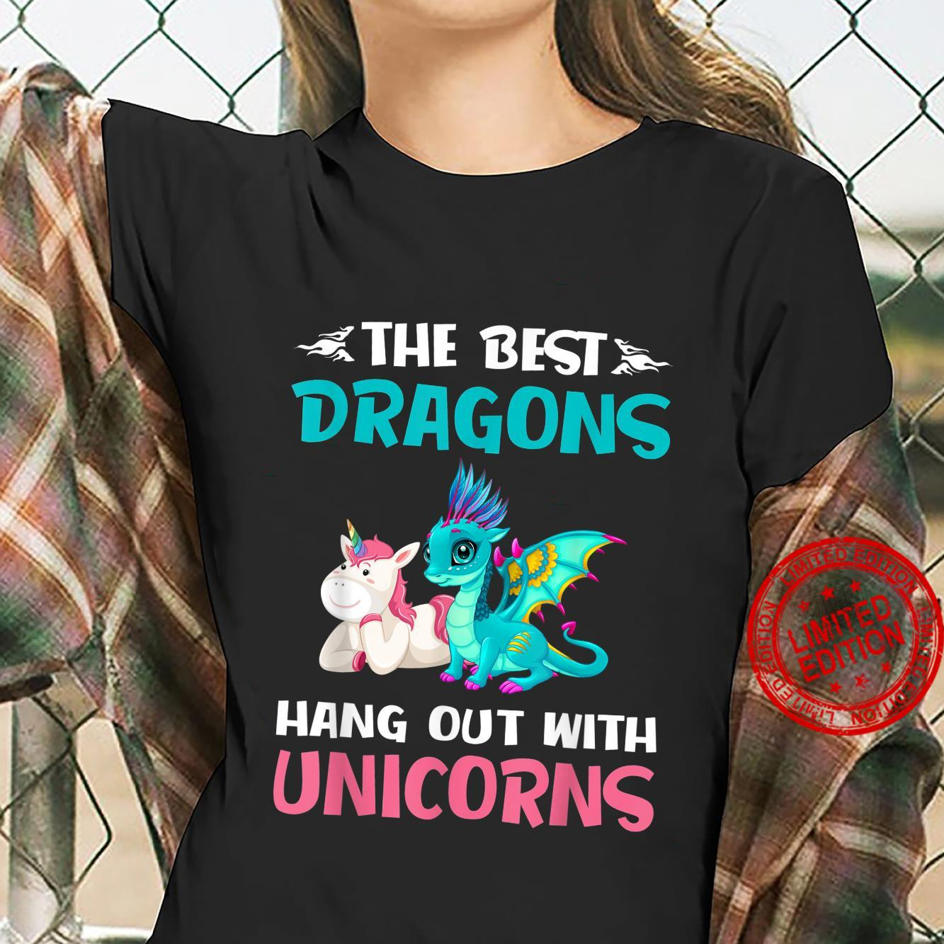 The Best Dragons Hangout With Unicorns Shirt ladies tee